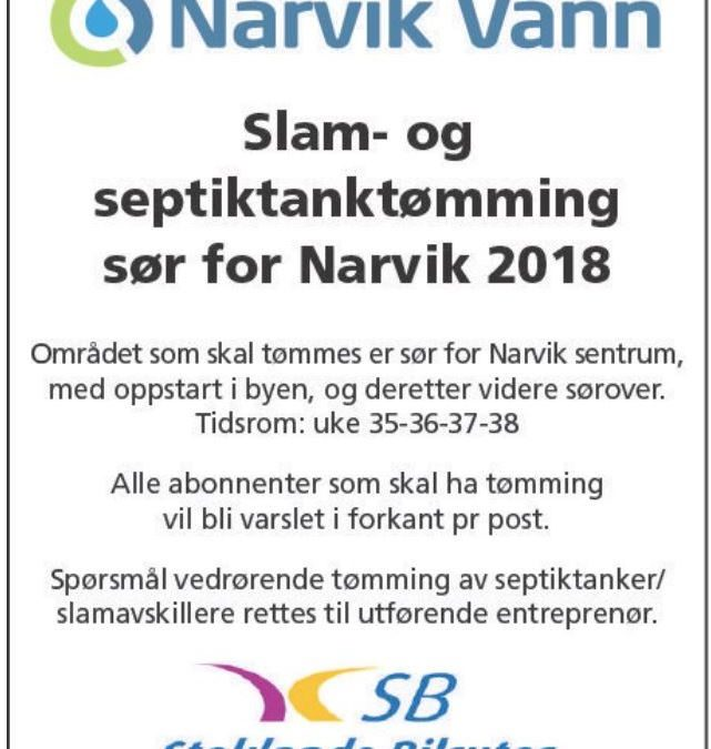 Slam- og septiktanktømming sør for Narvik 2018