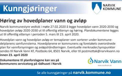 Høring av hovedplaner vann og avløp 2020-2030