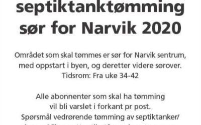Slam- og septiktanktømming sør for Narvik 2020